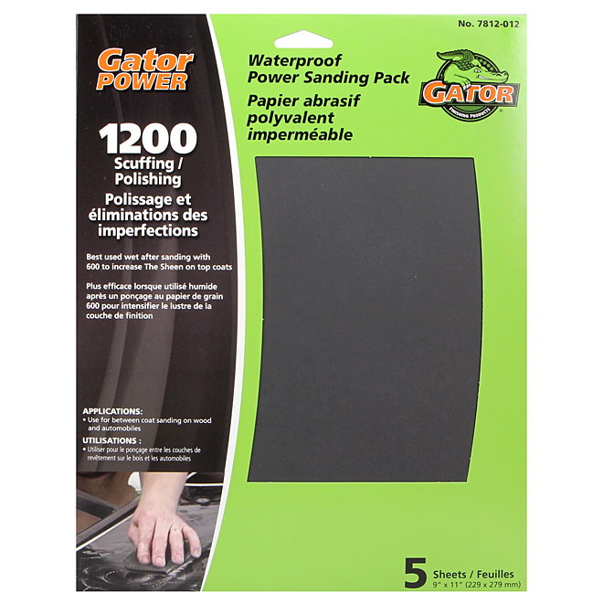"""Power"" Sander Sheet- 2000 Grit -9"" x 11"" - 5-Pack"