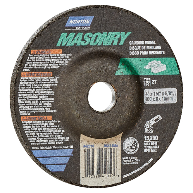 Masonry Depressed Centre Grinding Wheel - 4""