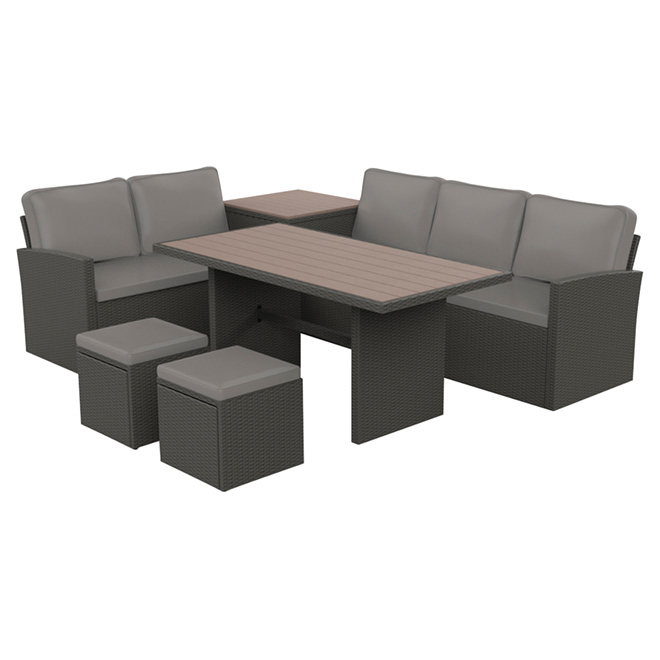 Luxembourg patio sectional dining set 6 pieces rona - Table a manger exterieur ...