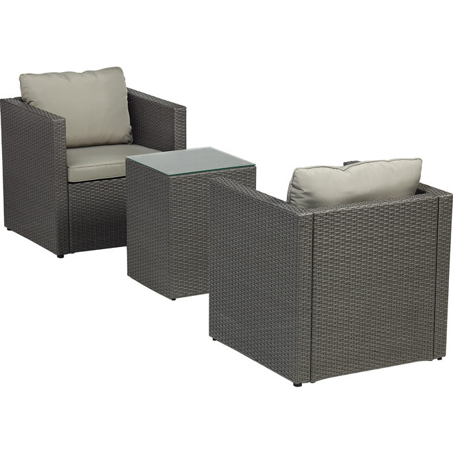"""Luxembourg"" Bistro Set - Grey - 3 Pieces"