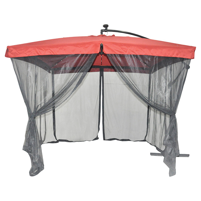 Solar light cantilever patio umbrella with netting rona for Housse auto canadian tire