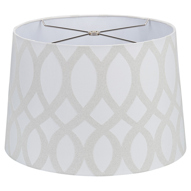 "Trellis/Linen Fabric Lamp Shade- 15"" - Grey/Grey"