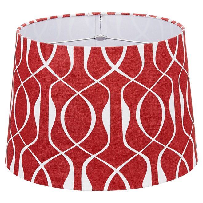 "Linen Lamp Shade - 13"" - Red/White"