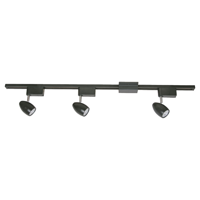 3-Light Step Linear Track Lighting Kit - Black