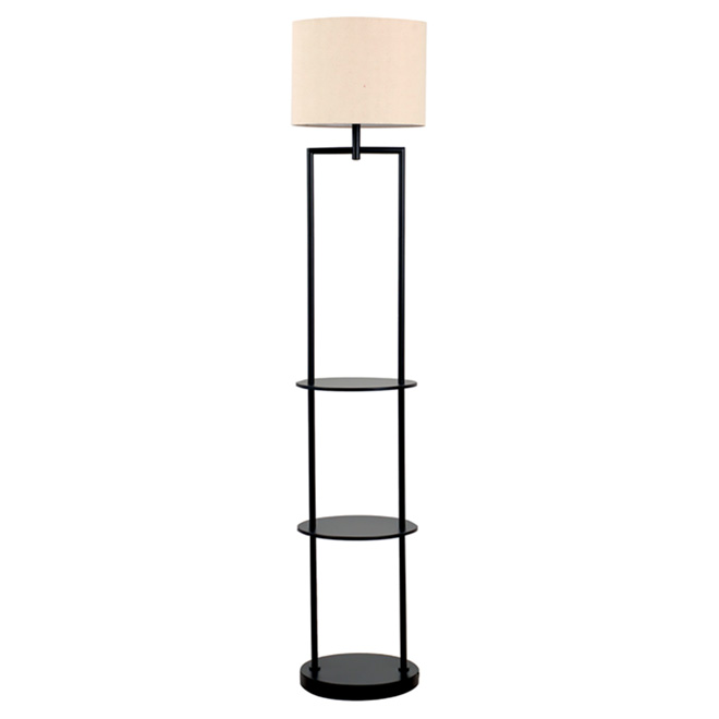lampe sur pied avec tablette 60 noir rona. Black Bedroom Furniture Sets. Home Design Ideas
