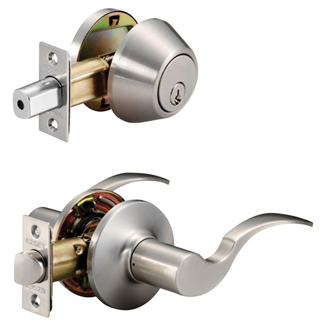 Shelby Entrance Handle and Deadbolt - Satin Nickel