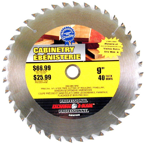 "Cabinetry Circular Saw Carbide Blade - 9"" - 40TH"