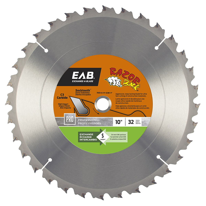 """Razor Back"" Circular Saw Carbide Blade- 10"" -32TH"