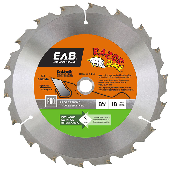 "Circular Saw Blade - 18-tooth - 8 1/4"" - Steel/Carbide"
