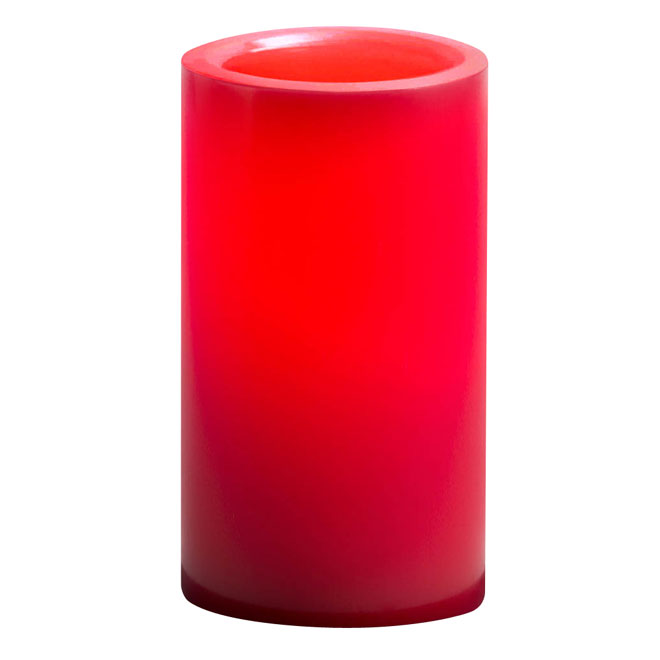 Real Wax Led Candle 6 x 3 in - Red