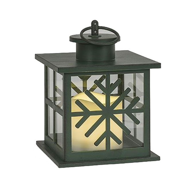 Battery-Operated LED Snowflake Lantern - Green - 7""