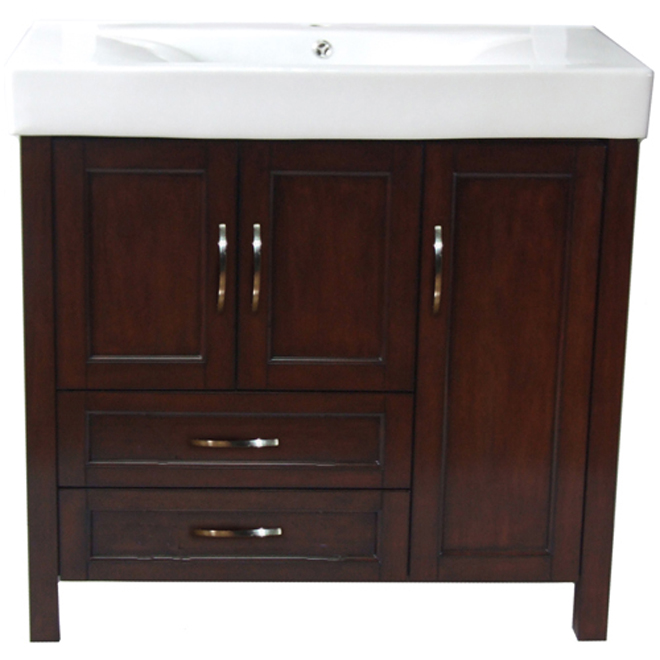 Larissa vanity with 3 doors and 2 drawers walnut rona - Meuble lavabo suspendu pas cher ...