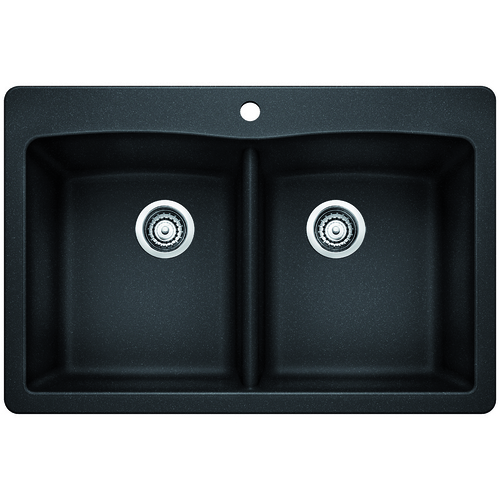 Double Sink Diamond - Silgranit® - Anthracite - 33 x 22""