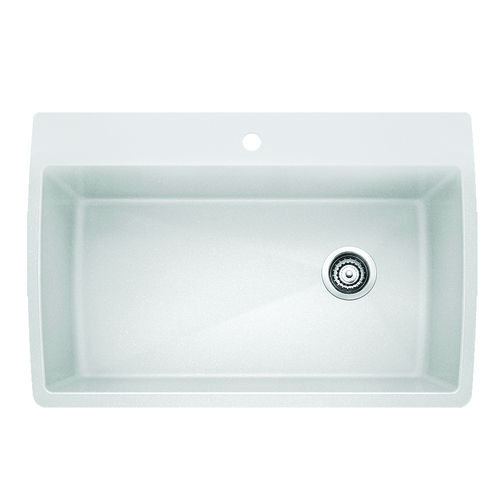 Single Sink Diamond - Silgranit® - White - 33.5 x 22""