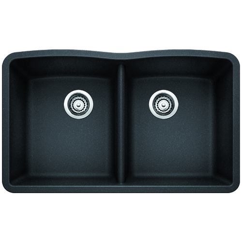 Double Sink Diamond - Silgranit® - Anthracite - 32 x 19.25""