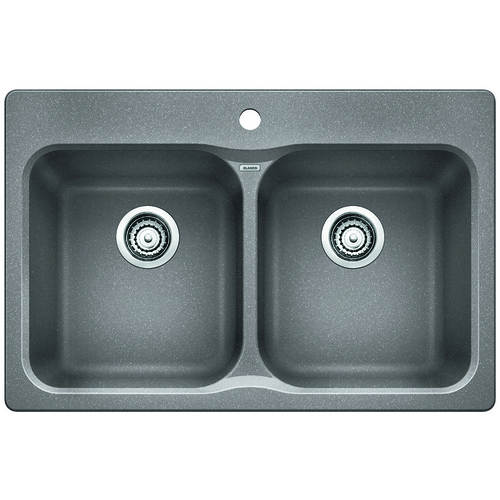 Double Sink Vision - Silgranit® - Grey - 31.5 x 20.7""