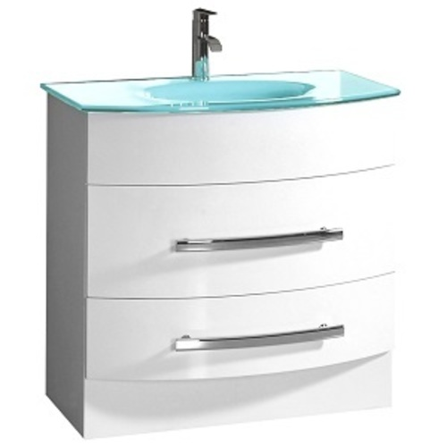 Mirabel Vanity And Sink 2 Drawers - White Lacquer MDF