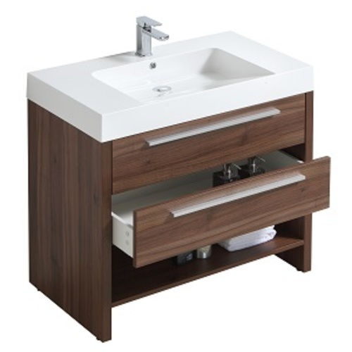 Meuble-lavabo « Relax » 2 tiroirs/1 tablette, noyer