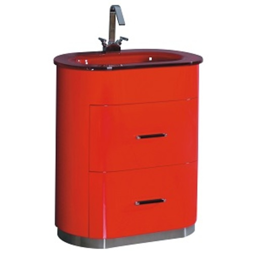 Retro Vanity Set 2 Drawers - Red Lacquered