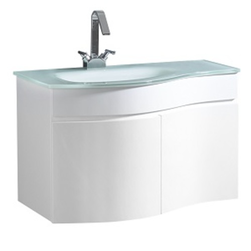 Wave Wall Mounted Vanity Set 2 Doors - White Lacquered