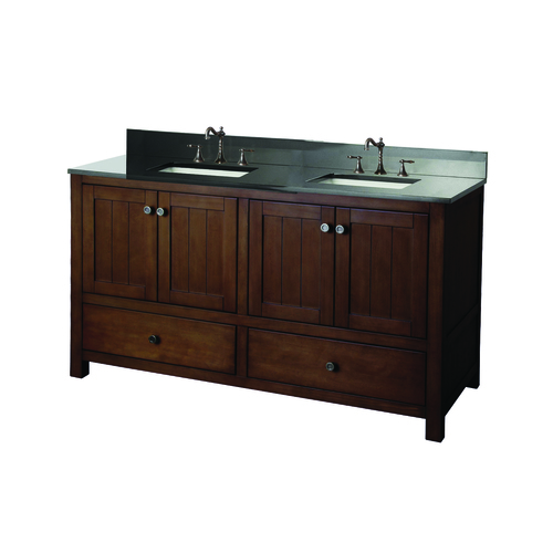 """Yates"" Vanity with Top 61"" - 4 Doors and 2 Drawers  - Rustic"