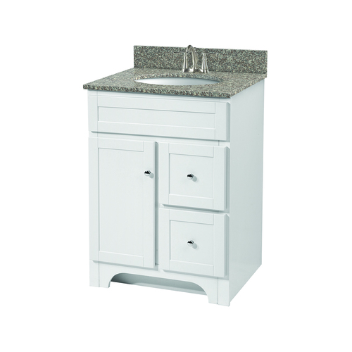 """Worthington"" Vanity without Top 24"" - 1 Door and 2 Drawers  - White"