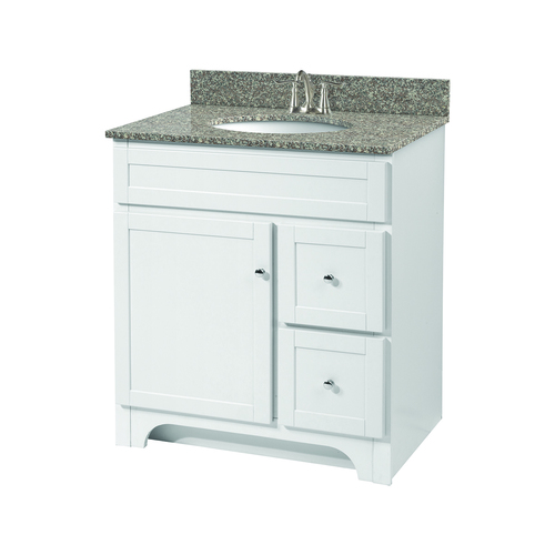 """Worthington"" Vanity without Top 30"" - 1 Door and 2 Drawers  - White"