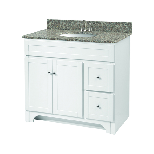 """Worthington"" Vanity without Top 36"" - 2 Doors and 2 Drawers  - White"