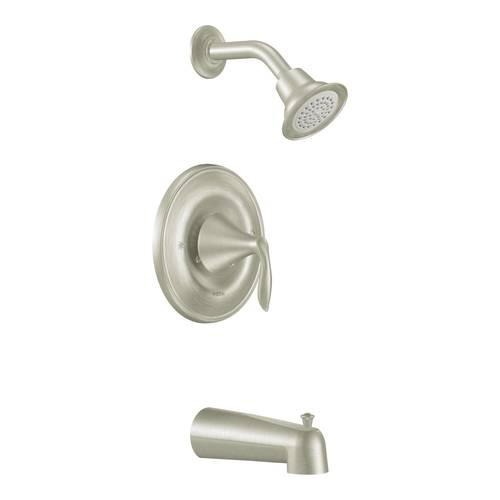 "Tub/Shower Faucet with Posi-Temp(R) - ""Eva"" - Brushed Nickel - Rough plumbing not included"