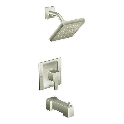 "Shower Faucet with Posi-Temp(R) - ""90 Degree"" - Brushed Nickel- Rough plumbing not included"