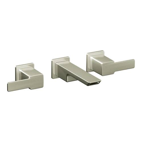 "Two-Handle Wall-Mount Bathroom Faucet - ""90 Degree"" - Brushed Nickel - Rough plumbing not included"