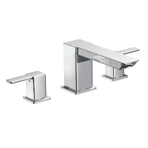 "Two-Handle Roman Tub Faucet - ""90 Degree"" - Chrome - Rough plumbing not included"