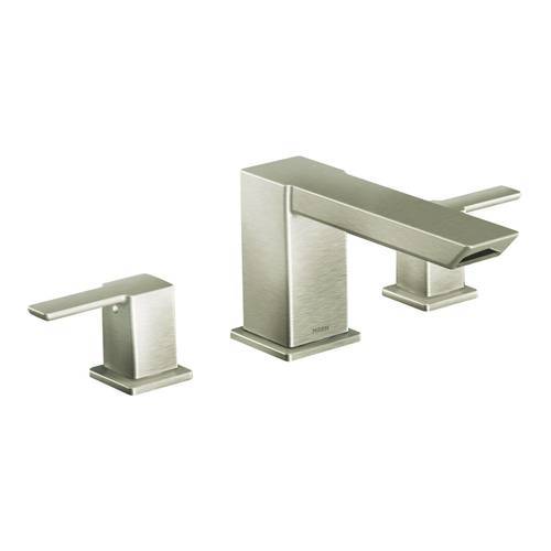 "Two-Handle Roman Tub Faucet - ""90 Degree"" - Brushed Nickel - Rough plumbing not included"