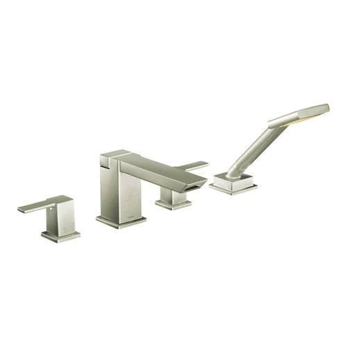 "Two-Handle Roman Tub Faucet - Hand Shower - ""90 Degree"" - Brushed Nickel - Rough plumbing not included"