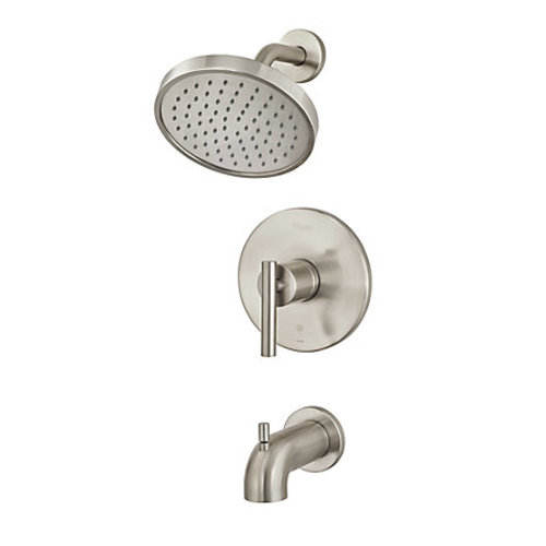 "Tub and Shower Faucet - ""Contempra"" - Brushed Nickel - Rough plumbing not included"
