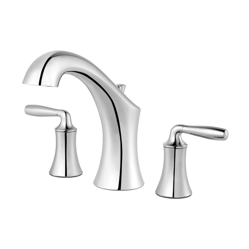 "Roman Tub Faucet - ""Iyla"" - 3-Hole - Chrome - Rough plumbing not included"