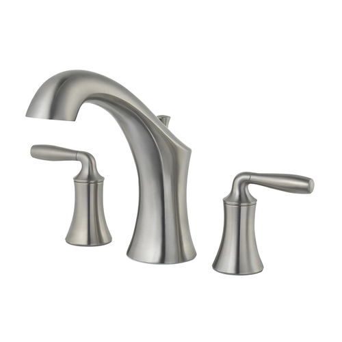 "Roman Tub Faucet - ""Iyla"" - 3-Hole - Brushed Nickel - Rough plumbing not included"