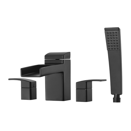 "Roman Tub Faucet - ""Kenzo"" - 4-Hole - Matte Black - Rough plumbing not included"