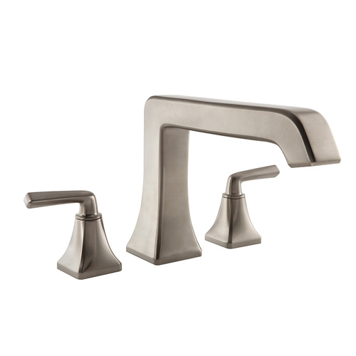 "Roman Tub Faucet - ""Park Avenue"" - 3-Hole - Brushed Nickel - Rough plumbing not included"