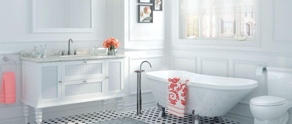 Charming Bathroom with white and bath on feet