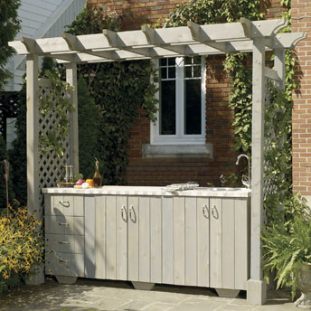 Build an outdoor kitchen island with pergola for Outdoor cooking station plans