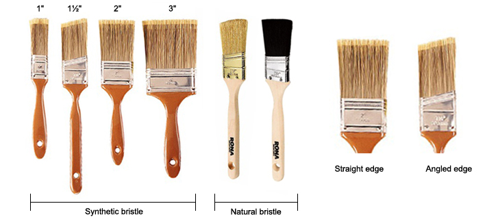 Paint brush features such as the width, type of bristle or angle