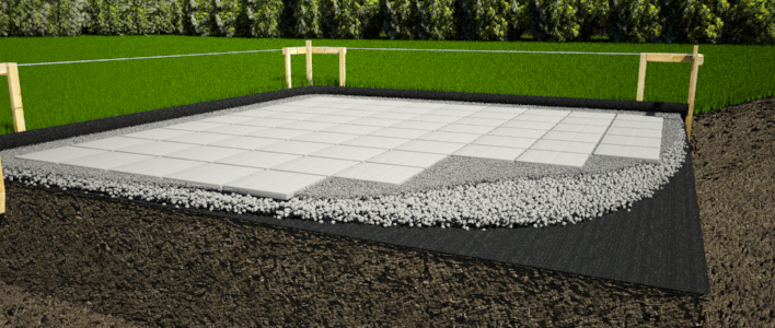 Concrete pavers shed foundation