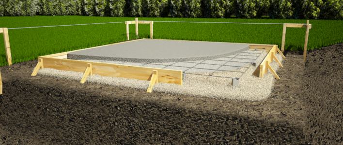 Concrete slab shed foundation.