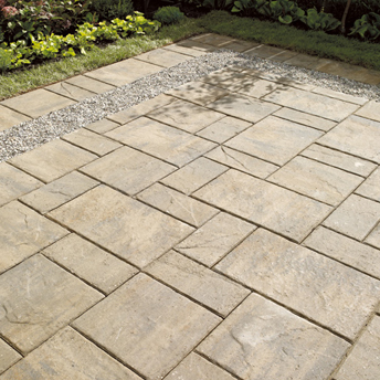 Create a paved area with concrete pavers or slabs 1 rona for Bath patio slabs