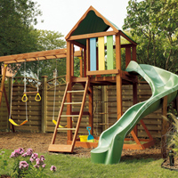 Design an outdoor play structure for a safe area within the landscape.