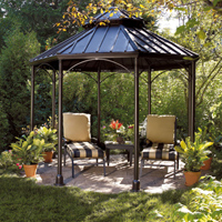 Create a cozy island in the middle of the landscape with a gazebo.