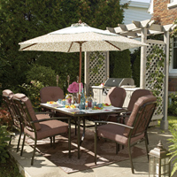 Outdoor dining can be a pleasant addition to an outdoor patio.