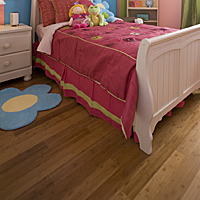 Choose a floor covering that's easy to clean, such as wood, laminate, smooth linoleum or vinyl