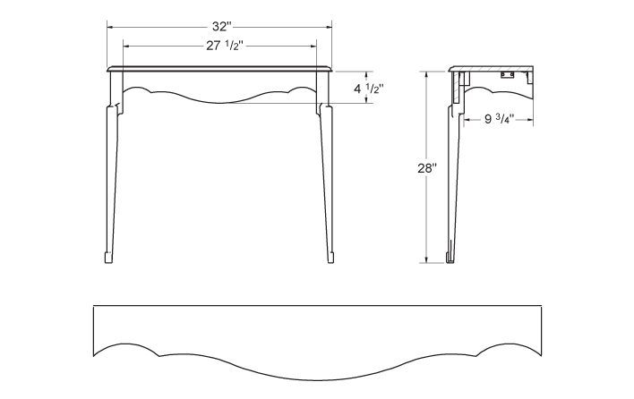 Plan and elevation of wall-mounted console table